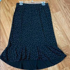 Black/turquoise polka dot skirt
